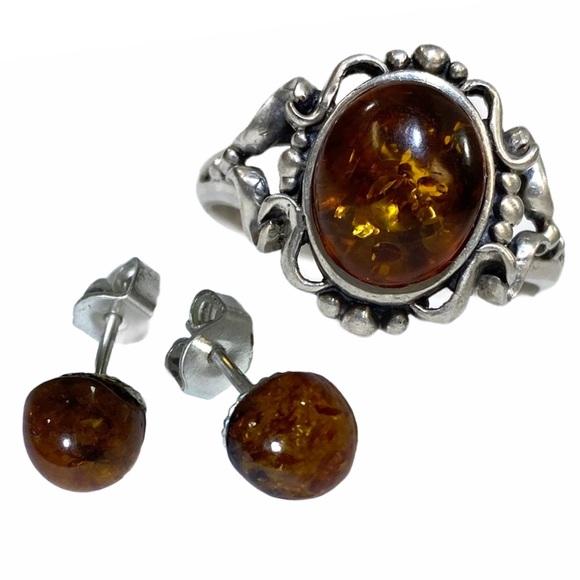 AMBER & STERLING SILVER .925 Ring & Earrings Sz. 9
